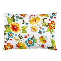 Flower Floral Rose Sunflower Leaf Color Pillow Case (two Sides) by Alisyart