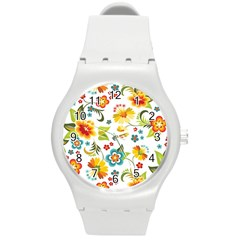 Flower Floral Rose Sunflower Leaf Color Round Plastic Sport Watch (m) by Alisyart