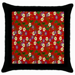 Red Flower Floral Tree Leaf Red Purple Green Gold Throw Pillow Case (black)