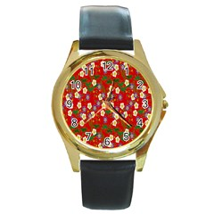 Red Flower Floral Tree Leaf Red Purple Green Gold Round Gold Metal Watch by Alisyart