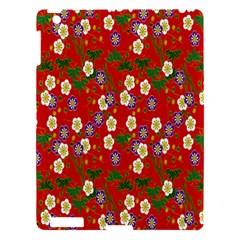 Red Flower Floral Tree Leaf Red Purple Green Gold Apple Ipad 3/4 Hardshell Case by Alisyart