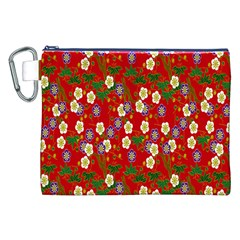 Red Flower Floral Tree Leaf Red Purple Green Gold Canvas Cosmetic Bag (xxl) by Alisyart