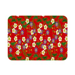 Red Flower Floral Tree Leaf Red Purple Green Gold Double Sided Flano Blanket (mini)  by Alisyart