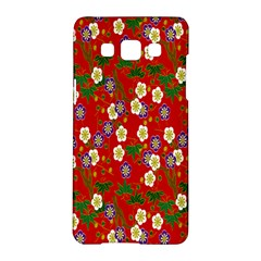 Red Flower Floral Tree Leaf Red Purple Green Gold Samsung Galaxy A5 Hardshell Case  by Alisyart
