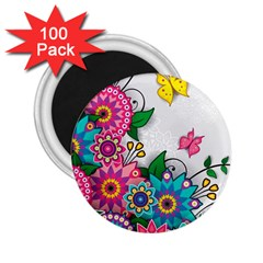 Flowers Pattern Vector Art 2 25  Magnets (100 Pack)  by Amaryn4rt