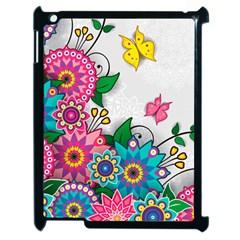 Flowers Pattern Vector Art Apple Ipad 2 Case (black)