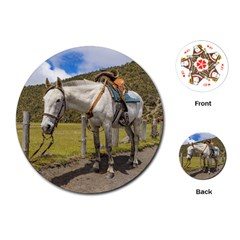 White Horse Tied Up At Cotopaxi National Park Ecuador Playing Cards (round)  by dflcprints