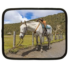 White Horse Tied Up At Cotopaxi National Park Ecuador Netbook Case (xl)  by dflcprints