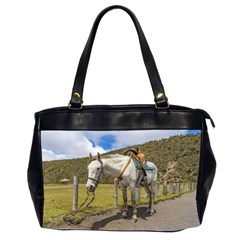 White Horse Tied Up At Cotopaxi National Park Ecuador Office Handbags (2 Sides)  by dflcprints