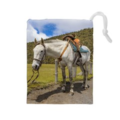 White Horse Tied Up At Cotopaxi National Park Ecuador Drawstring Pouches (large)  by dflcprints