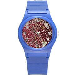 Crewel Fabric Tree Of Life Maroon Round Plastic Sport Watch (s) by Amaryn4rt