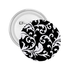 Vector Classical Traditional Black And White Floral Patterns 2 25  Buttons by Amaryn4rt