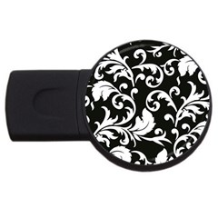 Vector Classical trAditional Black And White Floral Patterns USB Flash Drive Round (4 GB)