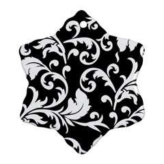 Vector Classical Traditional Black And White Floral Patterns Ornament (snowflake) by Amaryn4rt