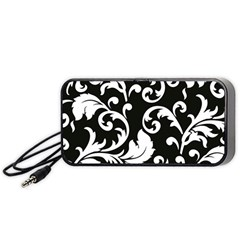 Vector Classical Traditional Black And White Floral Patterns Portable Speaker (black) by Amaryn4rt