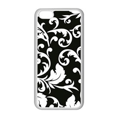 Vector Classical Traditional Black And White Floral Patterns Apple Iphone 5c Seamless Case (white) by Amaryn4rt