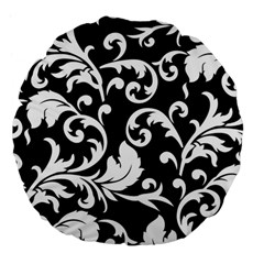 Vector Classical Traditional Black And White Floral Patterns Large 18  Premium Flano Round Cushions by Amaryn4rt