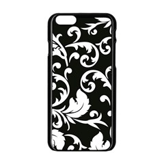 Vector Classical Traditional Black And White Floral Patterns Apple Iphone 6/6s Black Enamel Case by Amaryn4rt
