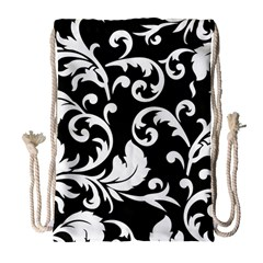 Vector Classical Traditional Black And White Floral Patterns Drawstring Bag (large) by Amaryn4rt