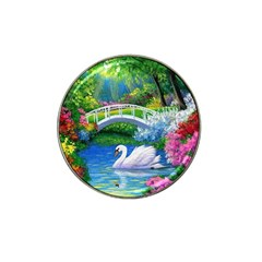 Swan Bird Spring Flowers Trees Lake Pond Landscape Original Aceo Painting Art Hat Clip Ball Marker