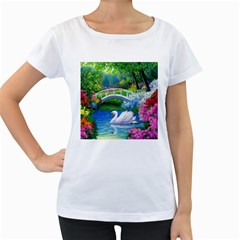 Swan Bird Spring Flowers Trees Lake Pond Landscape Original Aceo Painting Art Women s Loose Fit T Shirt (white) by Amaryn4rt