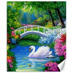 Swan Bird Spring Flowers Trees Lake Pond Landscape Original Aceo Painting Art Canvas 8  X 10  by Amaryn4rt