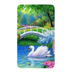 Swan Bird Spring Flowers Trees Lake Pond Landscape Original Aceo Painting Art Memory Card Reader by Amaryn4rt