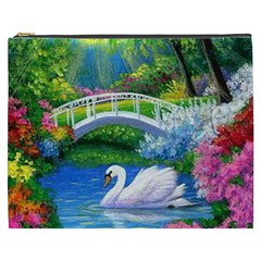 Swan Bird Spring Flowers Trees Lake Pond Landscape Original Aceo Painting Art Cosmetic Bag (xxxl)  by Amaryn4rt