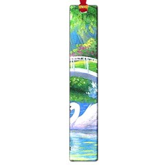 Swan Bird Spring Flowers Trees Lake Pond Landscape Original Aceo Painting Art Large Book Marks by Amaryn4rt