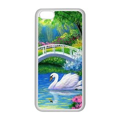 Swan Bird Spring Flowers Trees Lake Pond Landscape Original Aceo Painting Art Apple Iphone 5c Seamless Case (white) by Amaryn4rt