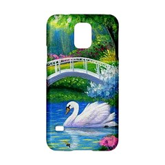 Swan Bird Spring Flowers Trees Lake Pond Landscape Original Aceo Painting Art Samsung Galaxy S5 Hardshell Case  by Amaryn4rt