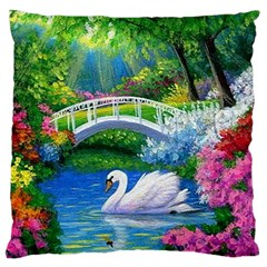 Swan Bird Spring Flowers Trees Lake Pond Landscape Original Aceo Painting Art Standard Flano Cushion Case (one Side) by Amaryn4rt
