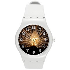 3d Beautiful Peacock Round Plastic Sport Watch (m) by Amaryn4rt