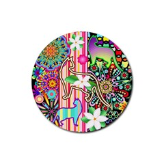 Mandalas, Cats And Flowers Fantasy Digital Patchwork Rubber Round Coaster (4 Pack)  by BluedarkArt