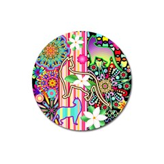 Mandalas, Cats And Flowers Fantasy Digital Patchwork Magnet 3  (round) by BluedarkArt