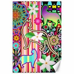 Mandalas, Cats And Flowers Fantasy Digital Patchwork Canvas 12  X 18   by BluedarkArt
