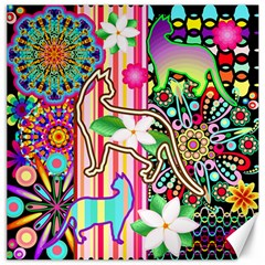 Mandalas, Cats And Flowers Fantasy Digital Patchwork Canvas 20  X 20   by BluedarkArt