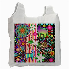 Mandalas, Cats and Flowers Fantasy Digital Patchwork Recycle Bag (One Side) by BluedarkArt