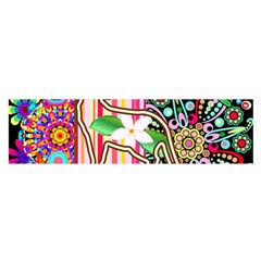 Mandalas, Cats And Flowers Fantasy Digital Patchwork Satin Scarf (oblong) by BluedarkArt
