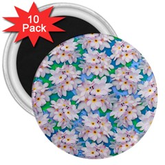 Plumeria Bouquet Exotic Summer Pattern  3  Magnets (10 Pack)  by BluedarkArt
