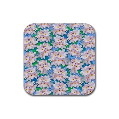 Plumeria Bouquet Exotic Summer Pattern  Rubber Coaster (square)  by BluedarkArt