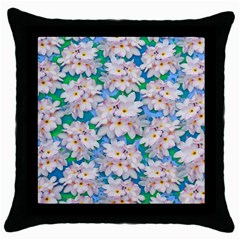Plumeria Bouquet Exotic Summer Pattern  Throw Pillow Case (black) by BluedarkArt