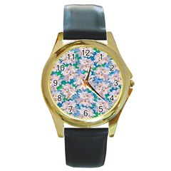 Plumeria Bouquet Exotic Summer Pattern  Round Gold Metal Watch