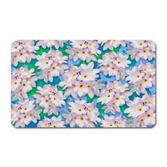 Plumeria Bouquet Exotic Summer Pattern  Magnet (rectangular) by BluedarkArt
