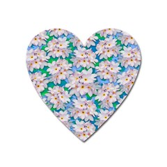 Plumeria Bouquet Exotic Summer Pattern  Heart Magnet by BluedarkArt