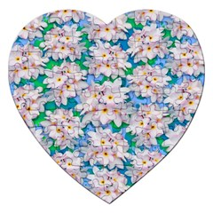 Plumeria Bouquet Exotic Summer Pattern  Jigsaw Puzzle (heart) by BluedarkArt