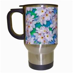 Plumeria Bouquet Exotic Summer Pattern  Travel Mugs (white) by BluedarkArt