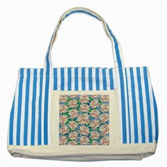 Plumeria Bouquet Exotic Summer Pattern  Striped Blue Tote Bag by BluedarkArt