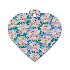Plumeria Bouquet Exotic Summer Pattern  Dog Tag Heart (two Sides) by BluedarkArt