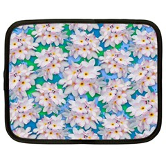 Plumeria Bouquet Exotic Summer Pattern  Netbook Case (large) by BluedarkArt